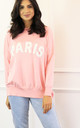 Paris Slogan Oversized Soft Light Knit Jumper in Baby Pink & Black by One Nation Clothing