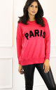 Paris Slogan Oversized Soft Light Knit Jumper in Fuchsia Pink & Black by One Nation Clothing