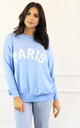 Paris Slogan Oversized Soft Light Knit Jumper in Baby Blue & White by One Nation Clothing