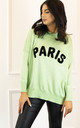 Paris Slogan Oversized Soft Light Knit Jumper in Pastel Green & Black by One Nation Clothing