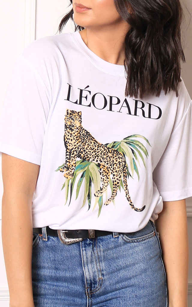 Leopard Graphic T-shirt in White by One Nation Clothing