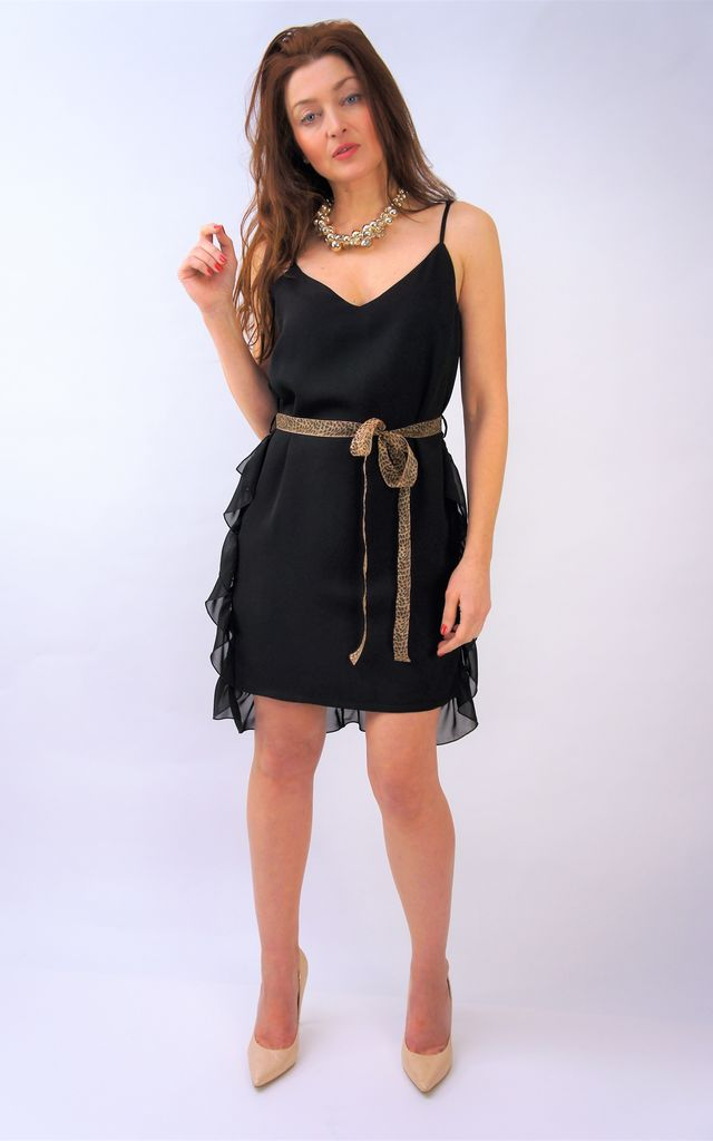 Black sleeveless occasion dress with frills and leopard print ribbon by E&A Fashion