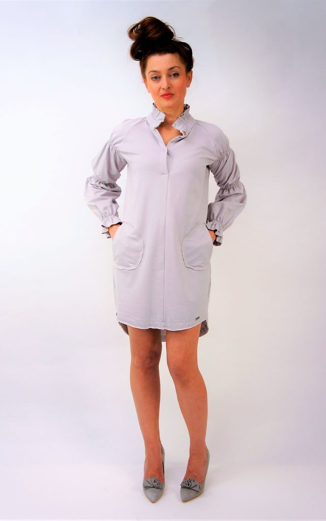 Tunic mini dress with stand-up-collar in pale lilac by E&A Fashion