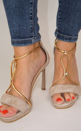 SUEDE BEIGE HIGH HEELED SANDALS WITH GOLD DETAIL by E&A Fashion