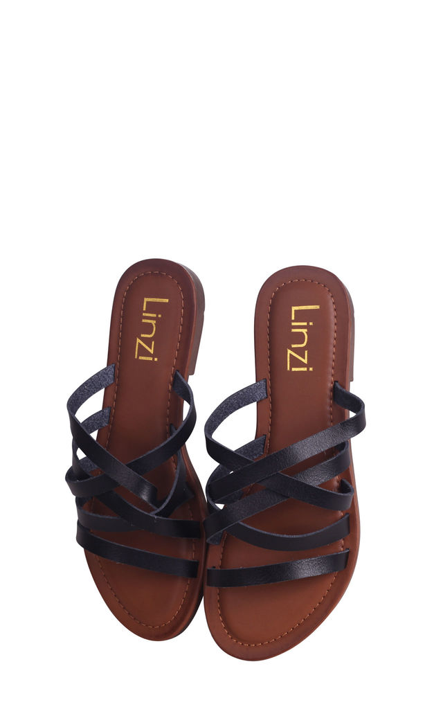 Riley Black Nappa Slip On Slider With Multiple Front Straps by Linzi