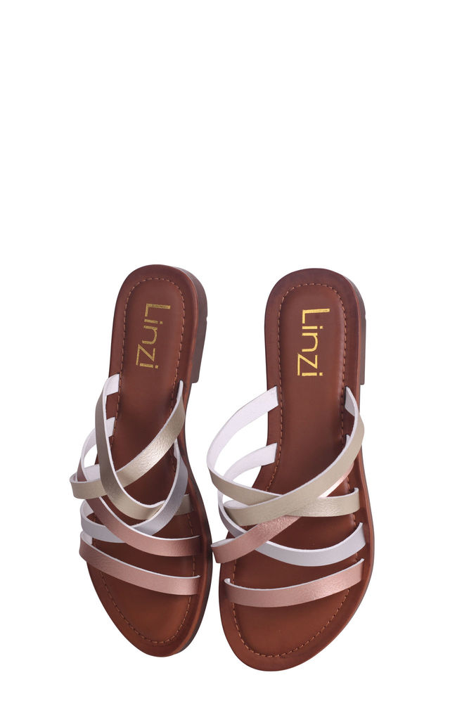 Riley Gold & Silver Metallic Slip On Slider With Multiple Front Straps by Linzi
