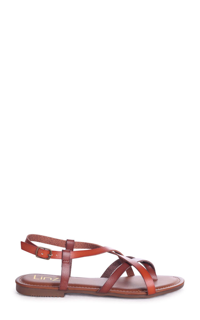 Camillo Tan Nappa Strappy Gladiator Style Sandal With Toe Post by Linzi