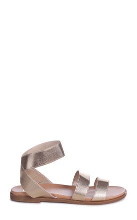 Rafaella Gold Elasticated Flat Sandal With Double Front Strap by Linzi