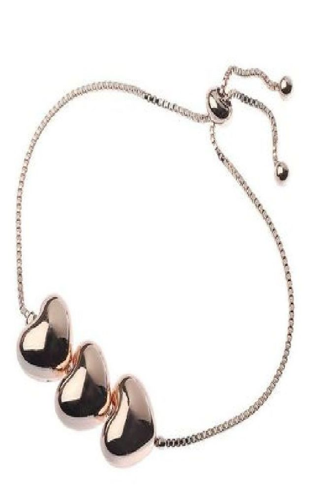 Triple Rose Gold heart bracelet by Nautical and Nice Ltd