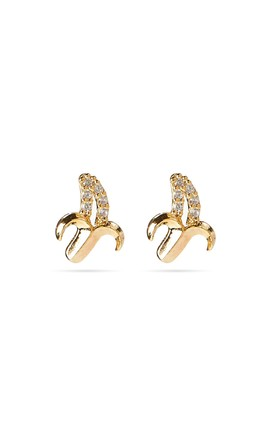 Small Gold Banana Stud Earrings, Sterling Silver Posts by With Bling Product photo