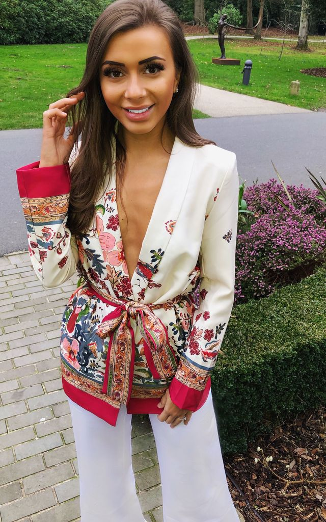 Alisha Red White Print Blazer by Hey Pretty