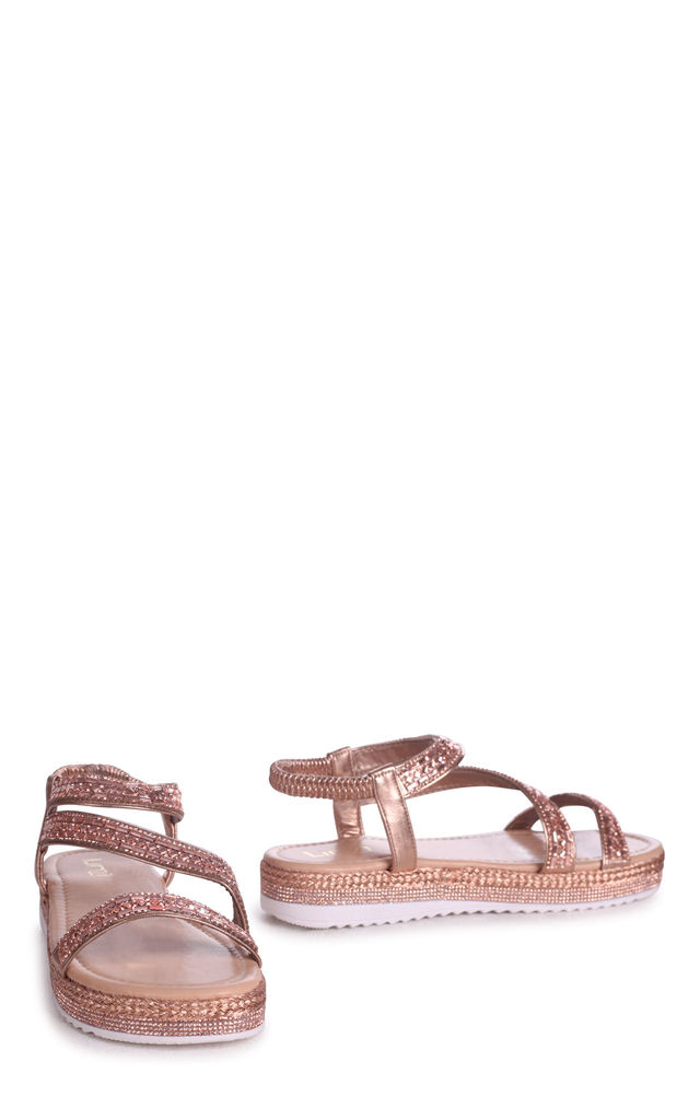 Fiji Gold Full Diamante Flatform Sandal With Plaited Detail by Linzi