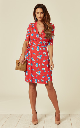 398360f4faf Marian Wrap Dress In Cosmos Red Floral Print