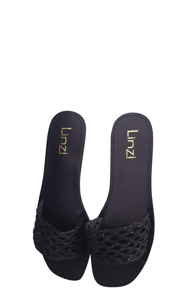 Catalina Black Nappa Slip On Slider With Plaited Front Strap by Linzi