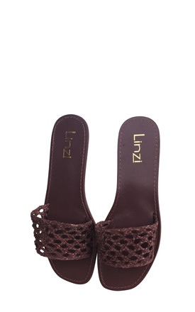 Catalina Brown Nappa Slip On Slider With Plaited Front Strap by Linzi