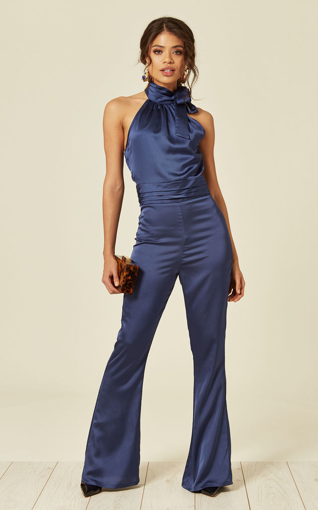 Silky Navy Bow Tie Halterneck Jumpsuit by Another Look