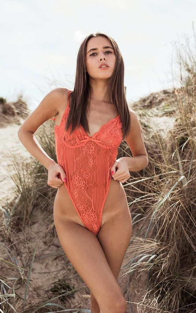Orange Floral Lace Lingerie Bodysuit by Saint Genies