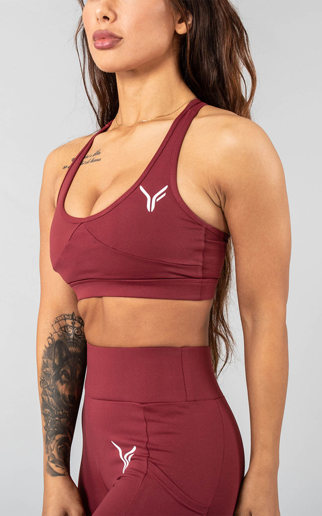 Vivekk Sports Bra in Maroon by Versa Forma