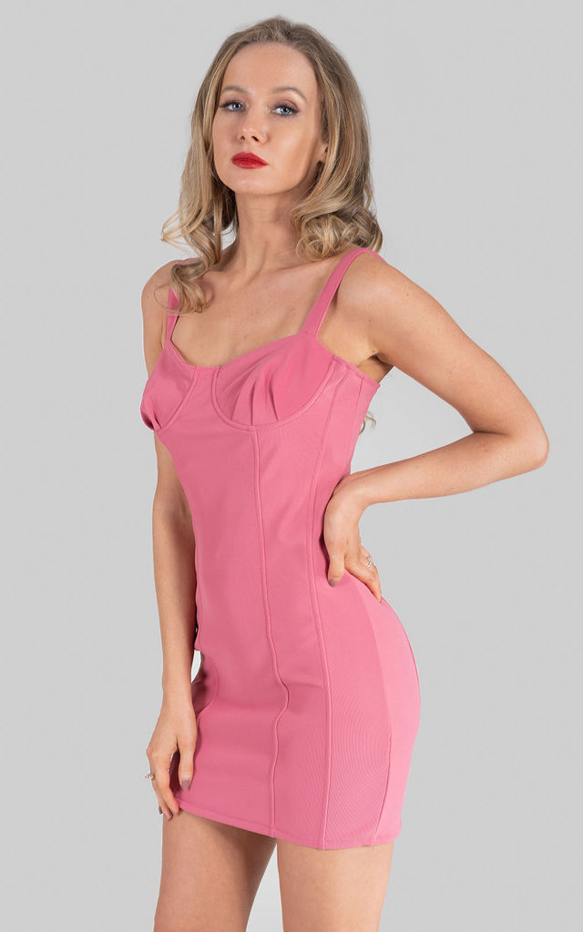 Rose Pink Boned Bodycon Dress by Saint Genies