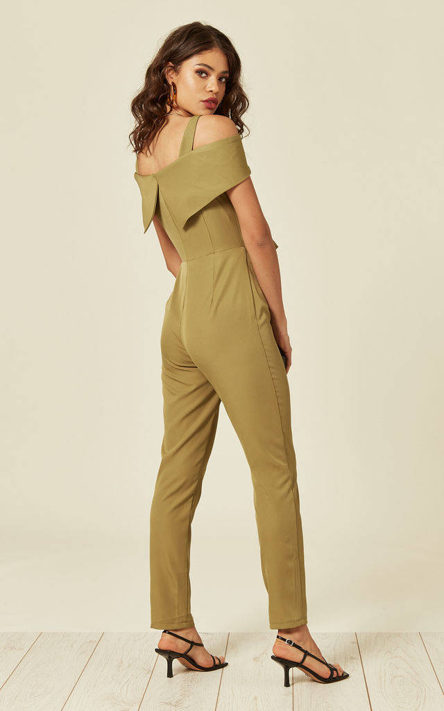 Khaki Jumpsuit With Button Front Detail by Another Look
