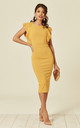 Emily Mustard Frill Sleeved Midi Dress by WalG