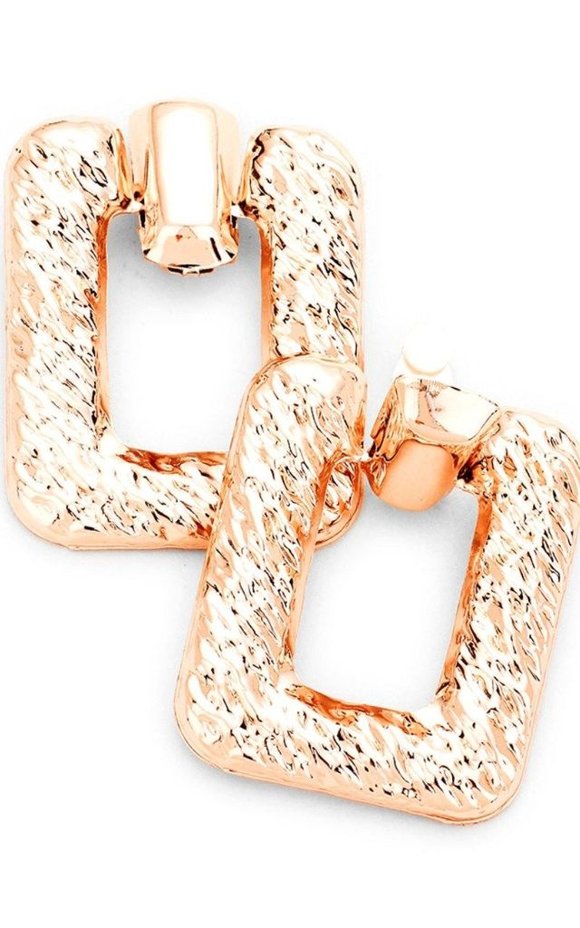 Chunky Rectangular Clip-On Rose Gold Earrings by Olivia Divine Jewellery