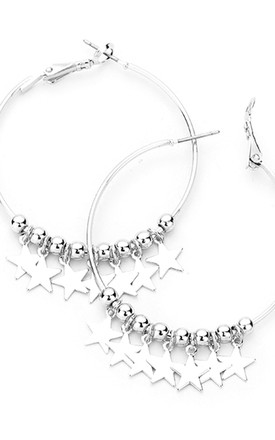 Silver Hoop Earrings with Star Charms by Olivia Divine Jewellery