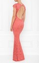 Faye Lace Coral Backless Maxi Dress With Fishtail by Honor Gold