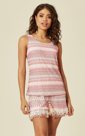 VEST TOP AND SHORTS CO-ORD WITH FLORAL LACE in PINK by Lucy Sparks