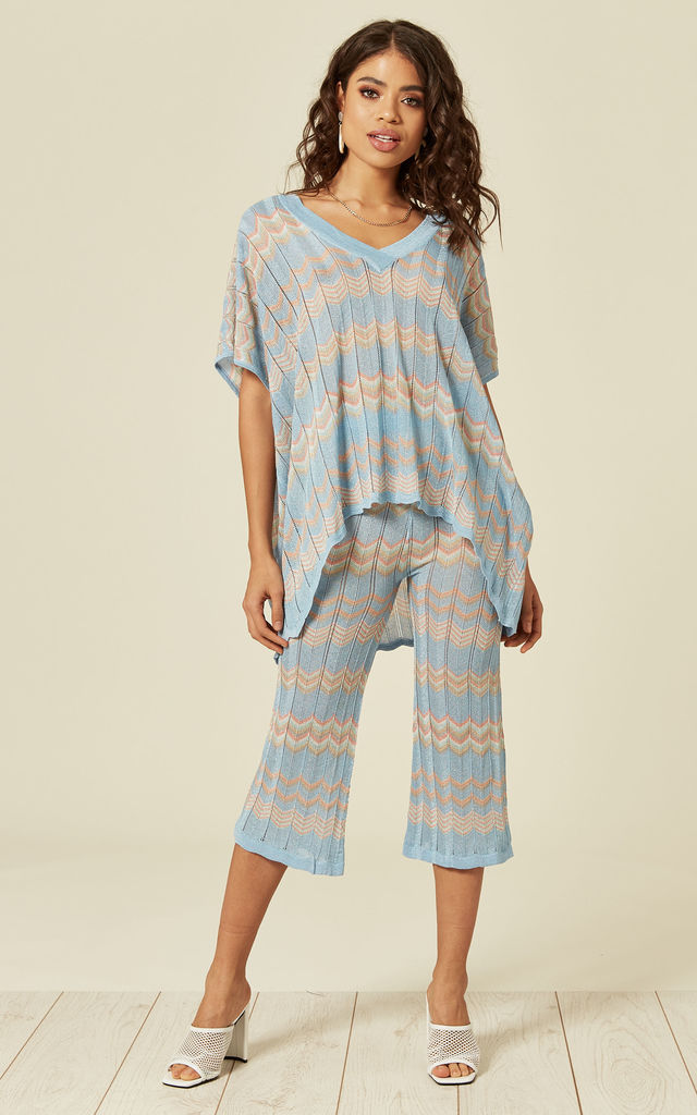 Blue ZIG ZAG LIGHT KNIT CO-ORD by Lucy Sparks