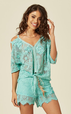 Cold Shoulder Top and Shorts Co-ord in Green Lace by Lucy Sparks