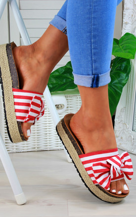 Red Bow Espadrille Sliders by Larena Fashion