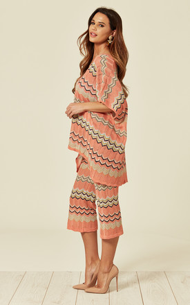SHORT SLEEEVE TOP AND CROPPED TROUSERS CO-ORD in CORAL PINK ZIG ZAG by Lucy Sparks