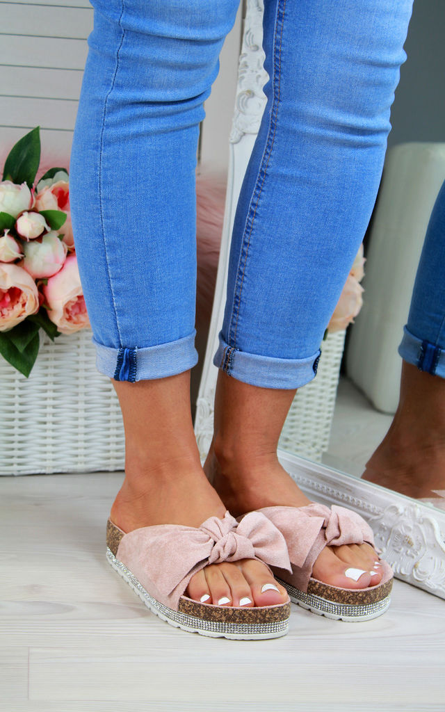 Pink Bow Embellished Sliders by Larena Fashion