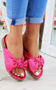 Fuchsia Bow Embellished Sliders by Larena Fashion