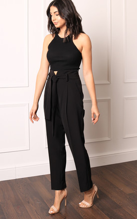 Black High Waisted Tapered Trousers with Tie Belt by One Nation Clothing