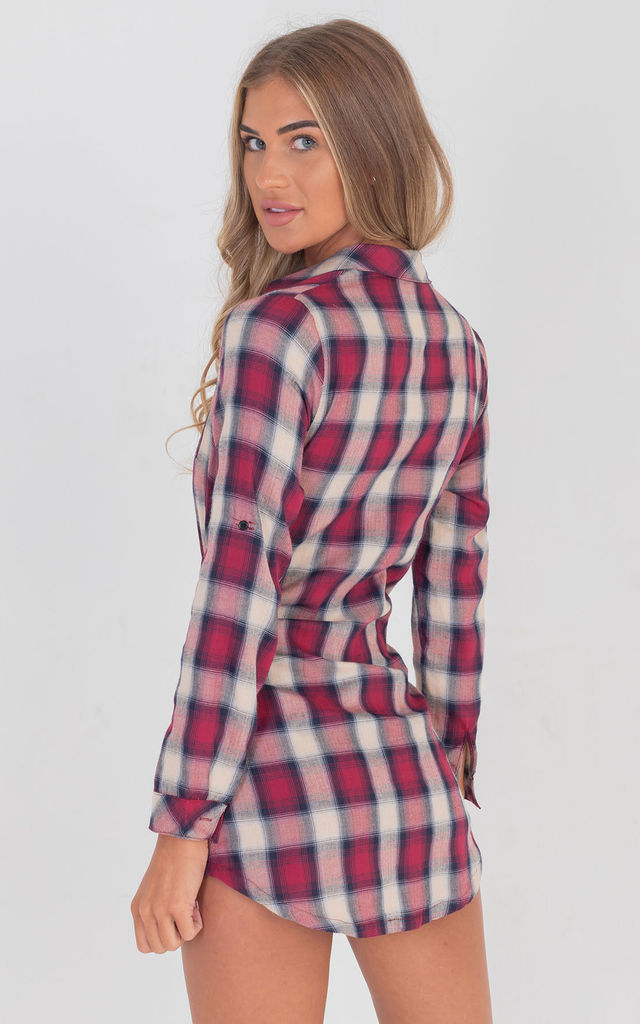 Mix Match Tie up Shirt Dress in Red Gingham by Saint Genies