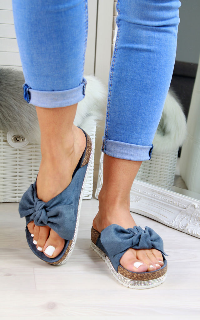 Navy Bow Embellished Sliders by Larena Fashion