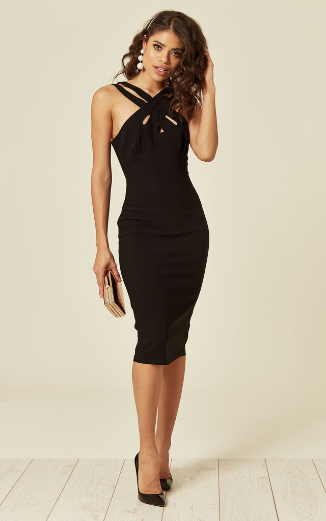 Bodycon Midi Dress With Cross Neck in Black by Voodoo Vixen