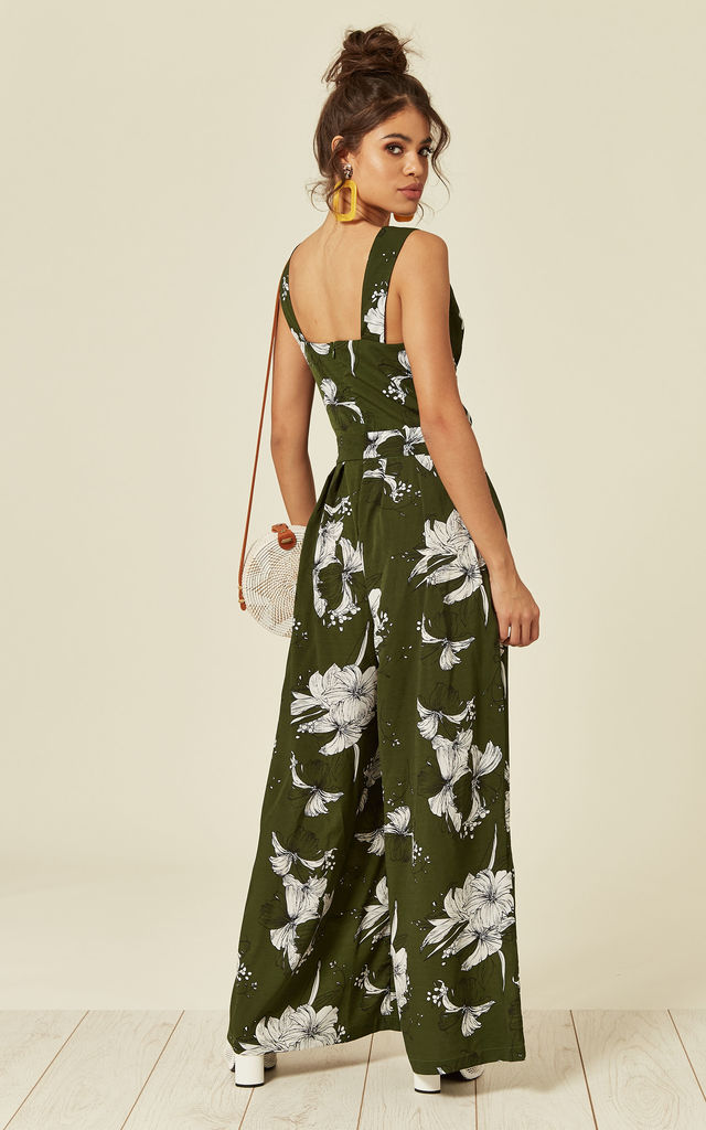 Green Wide Leg Jumpsuit in Floral Print by Voodoo Vixen