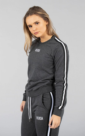 Olivia Track Long Sleeve Crew Top in Charcoal by Versa Forma