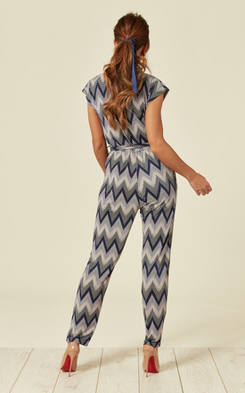 KARLIE – Pink Zig Zag Wrap Front Jumpsuit by Blue Vanilla