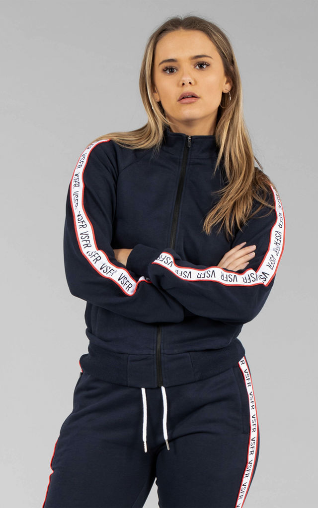 Ava Track Long Sleeve Zip Top in Navy by Versa Forma