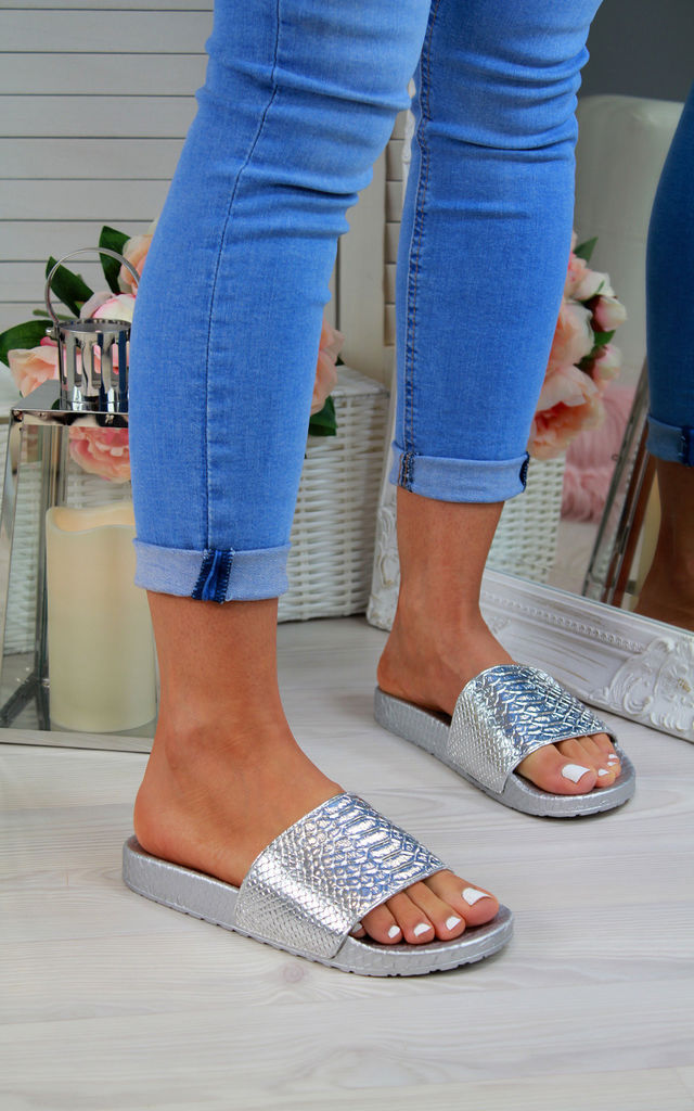 Silver Shiny Casual Sliders by Larena Fashion