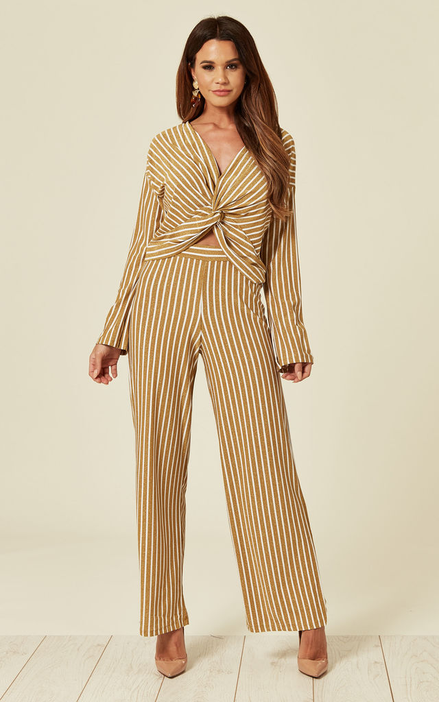 Long Sleeve Top and Trousers Co-Ord in Gold Stripe by Lucy Sparks