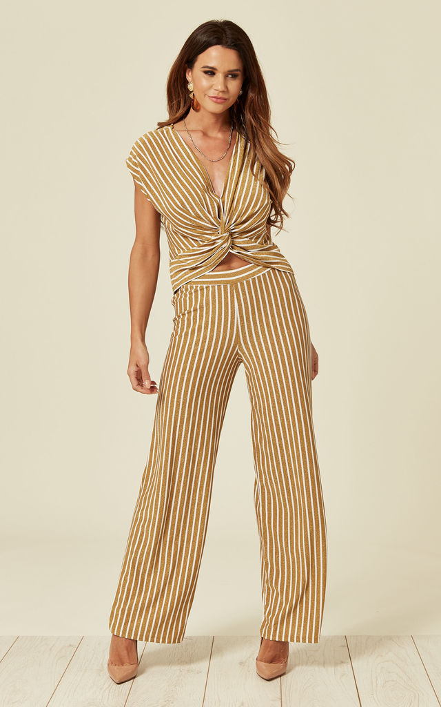 Gold Striped Lurex Co Ord by Lucy Sparks
