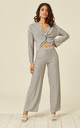 Long Sleeve Top and Trousers Co-Ord in Silver Stripe by Lucy Sparks