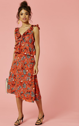 Burnt Orange Floral Print Asymmetric Midi Dress by Glamorous Product photo