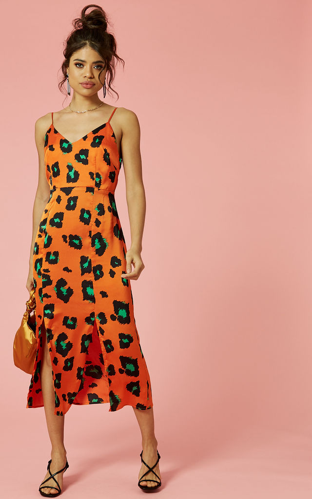 aeeefe445 Orange Green Leopard Slip Dress With Front Splits | Glamorous | SilkFred