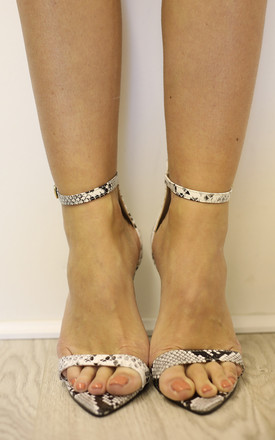 SILVIE Snakeskin Barely There Heeled Sandals by Giorgi London